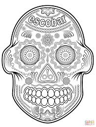 Escobar Sugar Skull Coloring Page Pages Forids Simple Day Of The