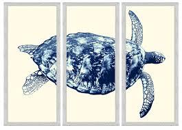 navy sea turtle triptych framed wall art