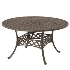 hanamint berkshire 54 round dining table with inlaid lazy susan desert bronze finish dining tables dining outdoor living