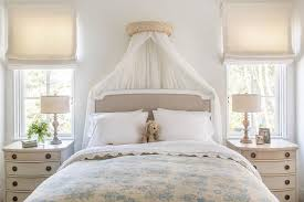 French Gray Linen Bed with Sheer Canopy Curtains