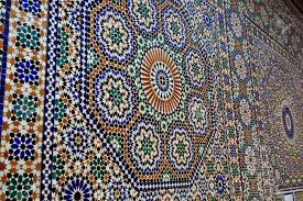meknes morocco ornate geometric mosaic tile work on mosque wall in morocco m18 work