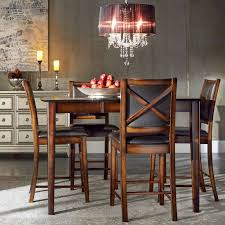 tribecca home frisco bay burnished oak extending counter height dining set brown size sets