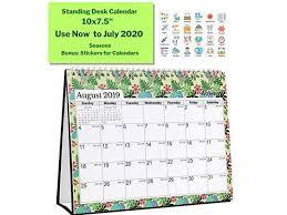 standup desk calendars larger desktop calendar 20192020 academic year 10x75 floral