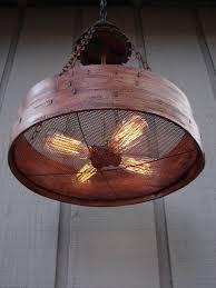 rustic hanging light upcycled vintage farm sieve rustic light fixture