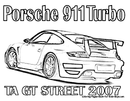 Printable coloring page of porsche 911 ta gt street 2007 >> disney