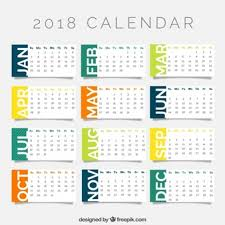 2018 calendar printable free 2018 calendar template in flat design vector free download