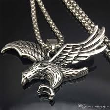 whole eagle necklace statement jewelry silver tone stainless steel hawk animal charm pendant chain for men gold necklace for men jewellery from