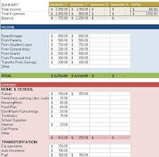 Excel Template For Budgets College Student Budget Ss 0 Newest Like