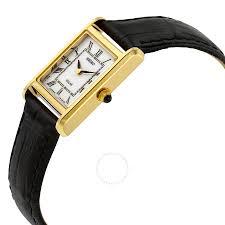 seiko solar white dial black leather las watch sup250