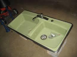 vintage avocado green kohler hudee ring cast iron double kitchen