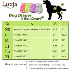 Dog Diaper Size Chart Luxja Reusable Female Dog Diapers Washable Wraps For Female Dog
