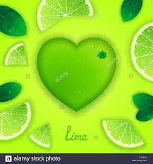 Lime Creative Design Photorealistic Surround Lime In The Form Of Heart With
