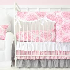 caden lane delaney s pink and gray damask 2 piece crib
