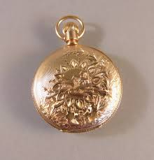 elgin victorian antique 14 karat yellow gold pendant or pocket watch with the engraved initials cvw on one side circa 1890
