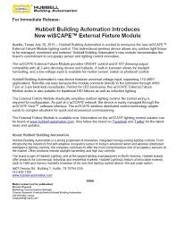 "hubbell control solutions press releases hubbell building automation introduces new wiscapeâ""¢ external fixture module 191 89 kb"
