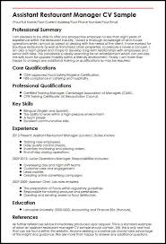 assistant manager skills assistant restaurant manager cv sample myperfectcv