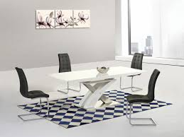 modern white high gloss and glass extending dining table and 8 black chairs