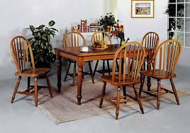 farmhouse dark oak dining table and 4 side chairs