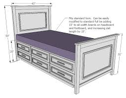 storage bed plans. Exellent Plans Magnificent Twin Bed With Storage Plans Ana White Fillman  Drawers Diy Projects