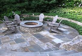 dimensional flagstone mortared in place offers a formal look