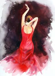 saatchi art flamenco dancer in red dress spanish flamenco dancer painting by olga beliaeva