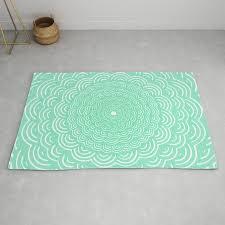 spiral mandala seafoam green curve round rainbow pattern unique minimalistic vintage zentangle rug by aej design society6
