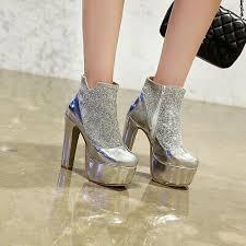 <b>2019 Womens</b> Sexy Bling <b>Super High</b> Heels Platform Ankle Boots ...