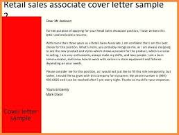 Retail Associate Cover Letter Sample Of Cover Letter For Sales Associate Sales Associate Cover