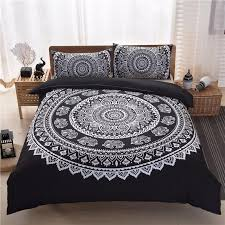 bohemia style black white purple printing duvet cover set quilt cover pillow case queen size bedding
