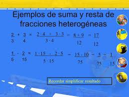 16 ejemplos de suma y resta de fracciones heterogéneas