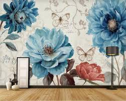 Us 90 40 Offbeibehang Aangepaste Behang Handgeschilderde Blauw Aquarel Bloemen Achtergrond Muur Woonkamer Slaapkamer Tv Achtergrond