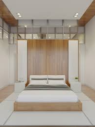 a symmetric minimalist bedroom that is picture perfect it makes use of very little furniture