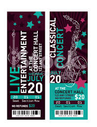 free ticket design template concert ticket template free vector illustration of a set of
