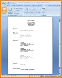 Sample Word Document Resume