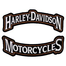 harley davidson black orange rocker patch set harley davidson