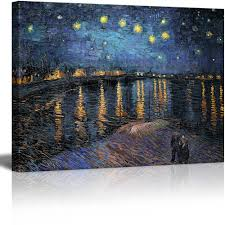 com wall26 canvas print wall art starry night over the rhone by vincent van gogh reion on canvas stretched gallery wrap