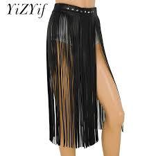 2019 yizyif women y tassel skirts goth hippie boho waistband long fringe black leather skirt high waist skirt holographic skirt j190411 from babala3