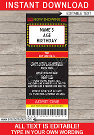 Concert Ticket Invitations Template Magnificent Movie Night Ticket Invitation Template Movie Birthday Party Ticket