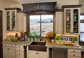 beautiful traditional kitchen decoration using white wood glass door kitchen cabinet with copper farmhouse sink and