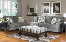 Set Of Two Table Lamps Gray Colour Of Big Sofa Design With Six Beautiful Cushions One