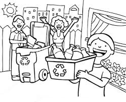 Small Picture Family Learn the Use of Recycling Coloring Page