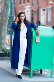 do the hotpants dana suchow white jumpsuit navu blue peacoat trench coat jacket red lipstick long hair woman mjj 0001