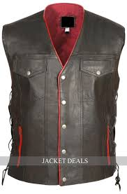 nwt mens motorcycle biker genuine black with red yellow club leather vest