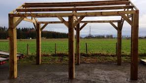 new wooden car port hot tub bbq shelter