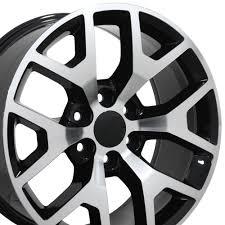 22x9 Black Machined Face Sierra 1500 Style Wheels Set of 4 22 ...