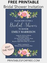 Free Bridal Shower Invite Templates Navy Floral Printable Bridal Shower Invitation Bridal