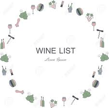 Wine Border Template Wine List Restaurant Menu Circle Template Line Style Green