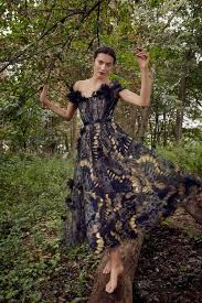 Marchesa <b>Spring</b> / <b>Summer 2019</b> Foil Printed <b>Tulle</b> Tea Length Gown