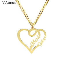 whole handmade jewelry fashion couple names necklace personalized silver gold box chain heart statement necklaces women custom bijoux opal pendant