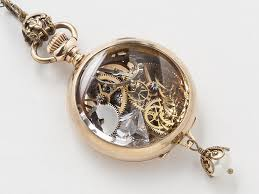 steampunk pocket watch case necklace 14k gold filled victorian pendant with gears silver owl charm filigree pearl drop